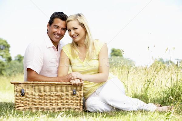 Stockfoto: Picknick · platteland · man · gelukkig · zomer