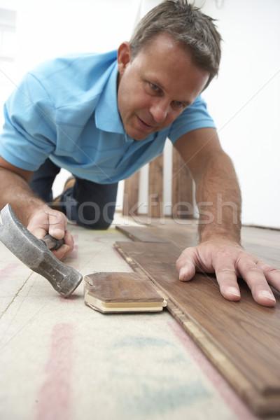 építész fektet fából készült parketta ház épület Stock fotó © monkey_business