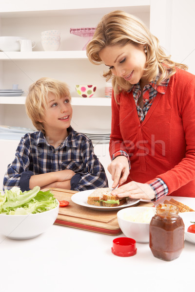 Mother And Son Making Sandwich In Kitchen Stock photo © monkey_business