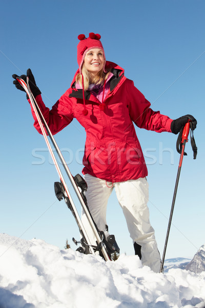 Ski vacances montagnes femme heureux Photo stock © monkey_business