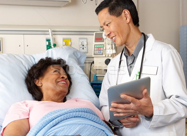 Doctor Using Digital Tablet Talking With Senior Patient Stock photo © monkey_business