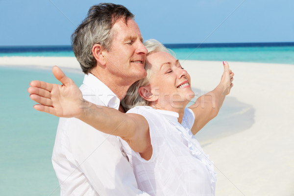 Senior Couple Withs Arms Outstretched On Beautiful Beach Stock photo © monkey_business