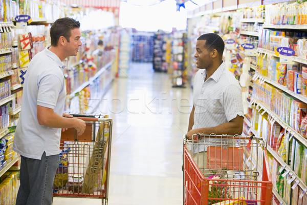 Foto d'archivio: Due · uomini · riunione · supermercato · parlando · felice · uomini
