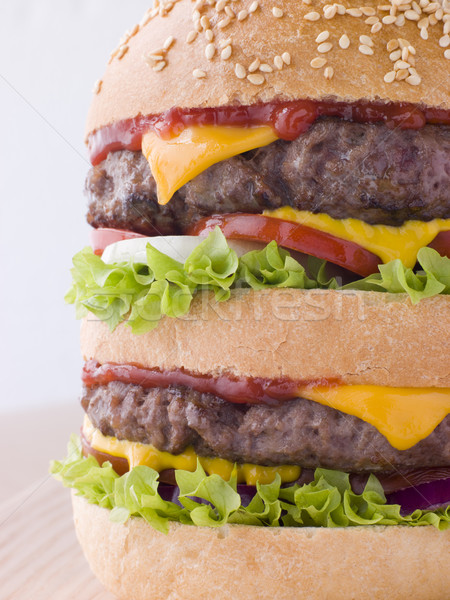Double Cheese Burger In A Sesame Seed Bun Stock photo © monkey_business