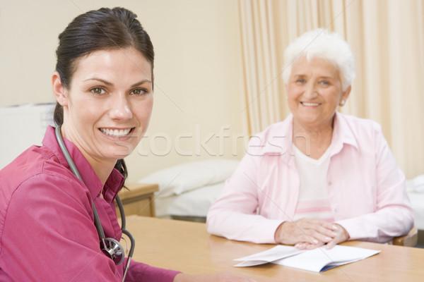 женщину улыбающаяся женщина улыбаясь врач счастливым Сток-фото © monkey_business