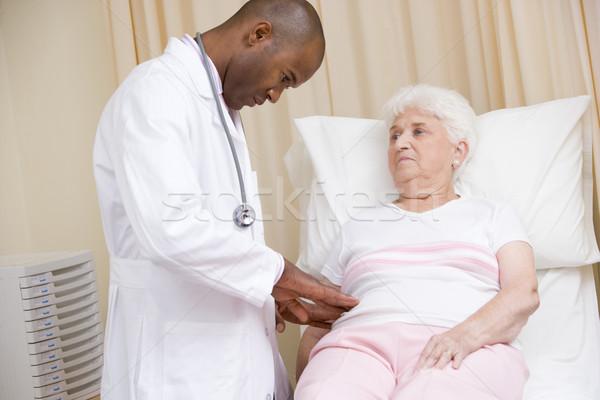 Stock fotó: Orvos · nő · vizsga · szoba · orvosi · kórház