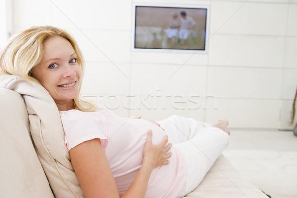Foto stock: Mujer · embarazada · sonriendo · mujer · familia · silla