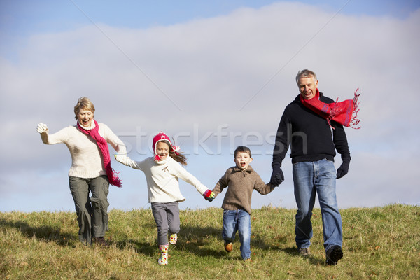 Grandparents And Grandchildren Running In The Park Stock photo © monkey_business
