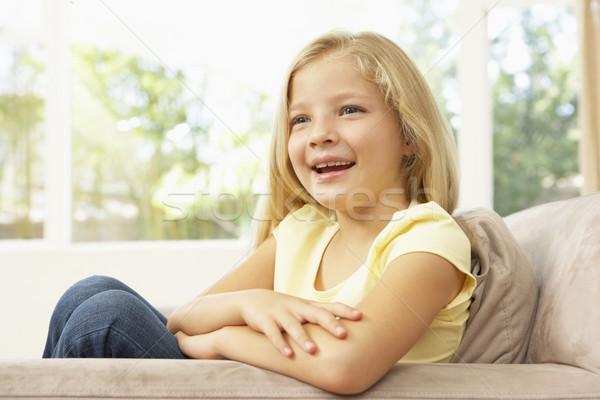 Stockfoto: Jong · meisje · ontspannen · sofa · home · meisje · gelukkig