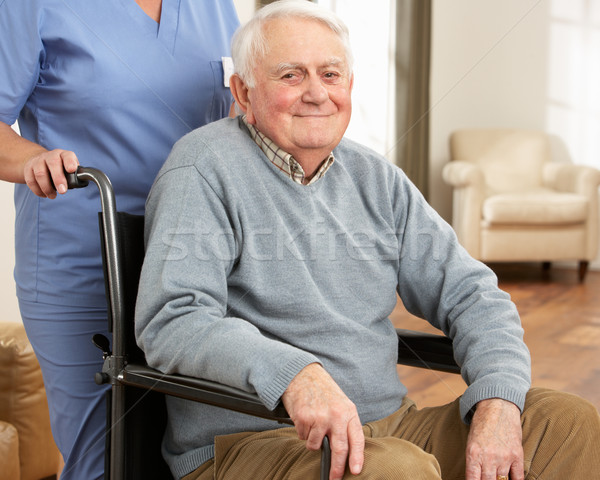 Disabled Senior Man Sitting In Wheelchair With Carer Behind Stock photo © monkey_business