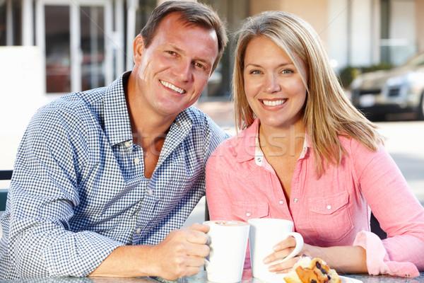 Couple sitting at sidewalk caf Stock photo © monkey_business