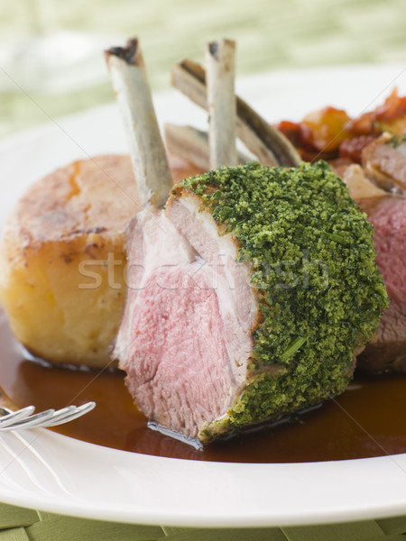 Rack of Lamb with a Herb Crust Potato Fondant and Ratatouille Stock photo © monkey_business