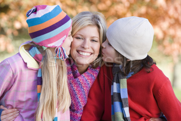 Children giving mother kiss on walk Stock photo © monkey_business