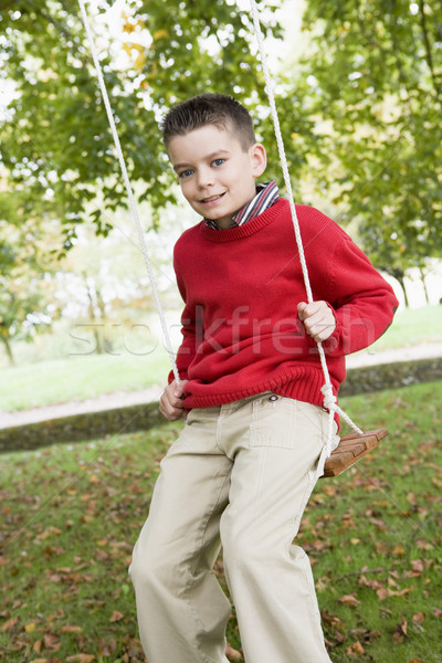 Young boy playing on tree swing Stock photo © monkey_business