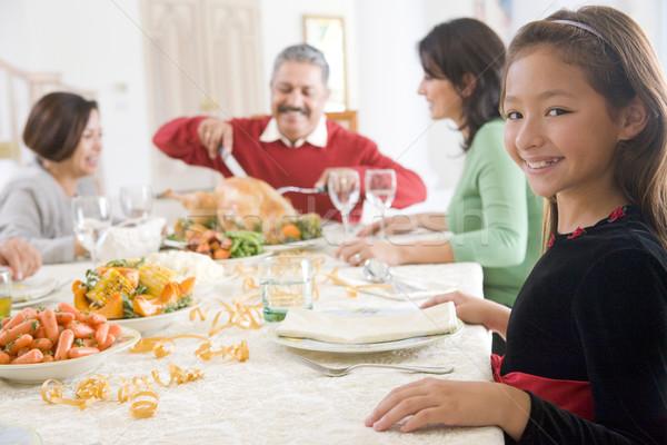 Stok fotoğraf: Aile · tüm · birlikte · Noel · akşam · yemeği · kız