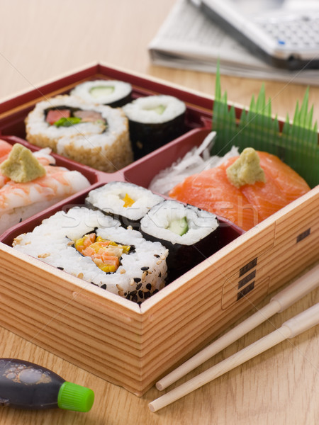 Sushi sashimi weg vak voedsel Stockfoto © monkey_business