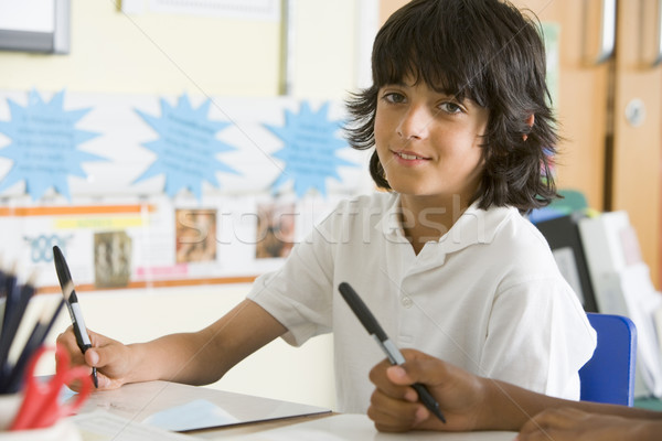 Stockfoto: Schooljongen · studeren · klasse · kind · portret · klas