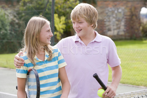 теннисный корт улыбаясь детей спорт друзей Сток-фото © monkey_business