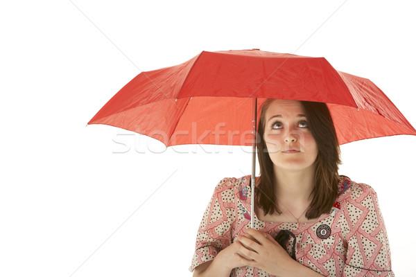 Em pé vermelho guarda-chuva feliz Foto stock © monkey_business