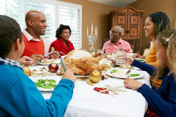 Stockfoto: Vieren · christmas · maaltijd · familie · meisje