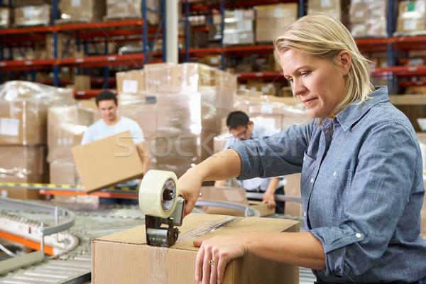 労働 ディストリビューション 倉庫 コンピュータ 女性 ボックス ストックフォト © monkey_business
