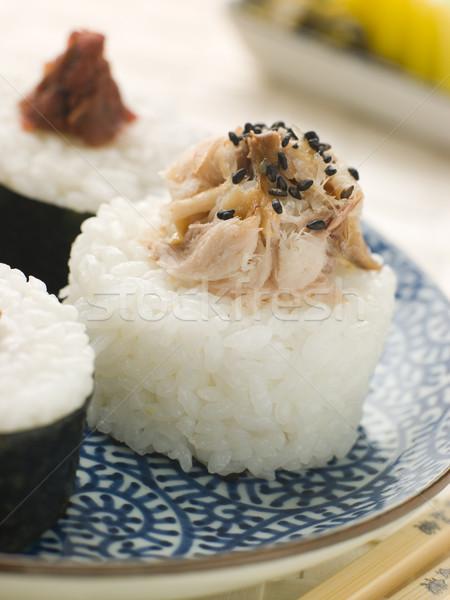 Sushi Rice Balls with Smoked Mackerel and Ameboshi Paste Stock photo © monkey_business