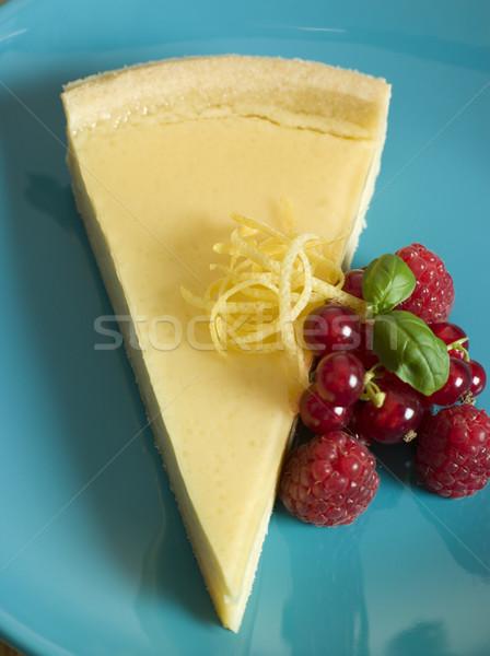 Citroen vla taart vruchten voedsel vruchten Stockfoto © monkey_business