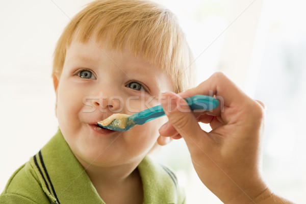 Mother feeding young boy baby food Stock photo © monkey_business