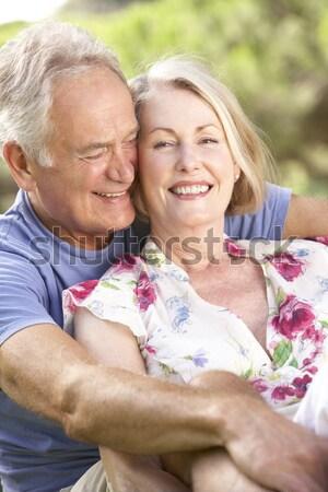 Foto stock: Nieta · abuela · flores · sonriendo · amor
