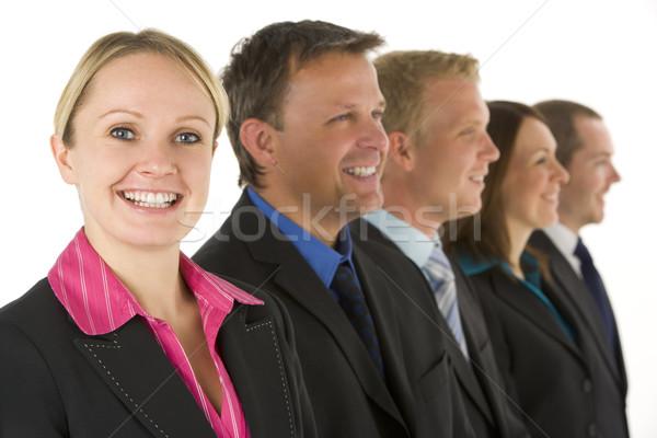 Сток-фото: группа · деловые · люди · линия · улыбаясь · бизнеса · женщины
