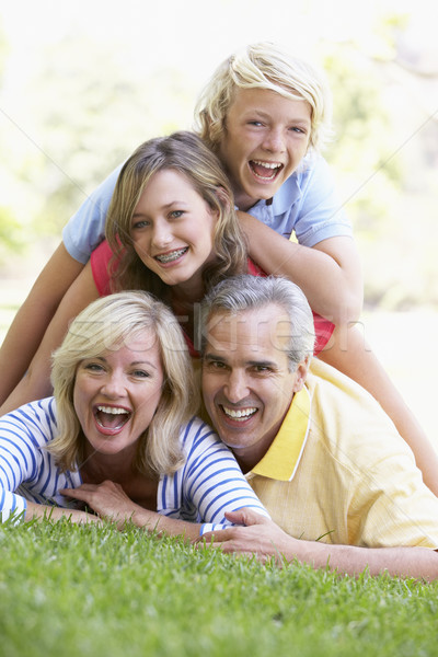 Family Lying On Top Of Each Other In A Park Stock photo © monkey_business