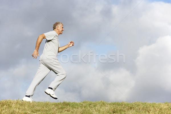 Stockfoto: Senior · man · jogging · park · gelukkig · winter