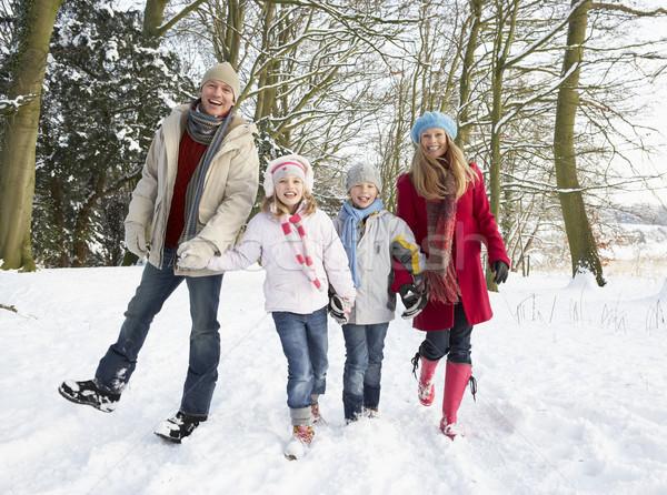 Family Walking Through Snowy Woodland Stock photo © monkey_business