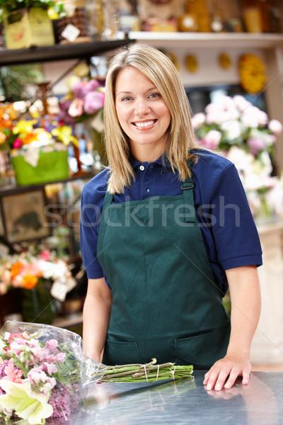 Nő dolgozik virágárus virág virágok munkás Stock fotó © monkey_business