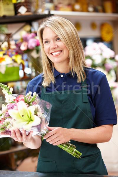 Stock fotó: Nő · dolgozik · virágárus · virág · virágok · munkás