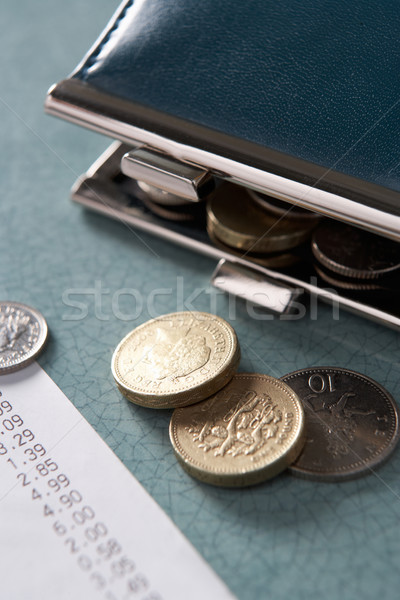 Stock photo: Open purse with till receipt and coins