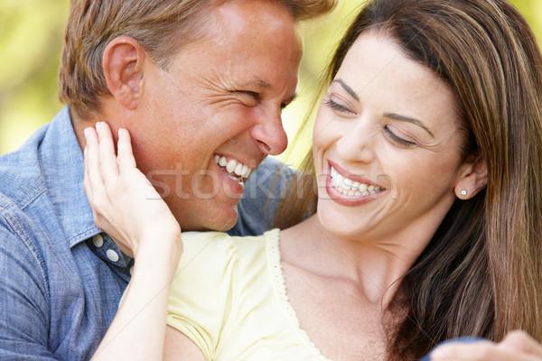 Romantikus pár kint nap mező jókedv Stock fotó © monkey_business