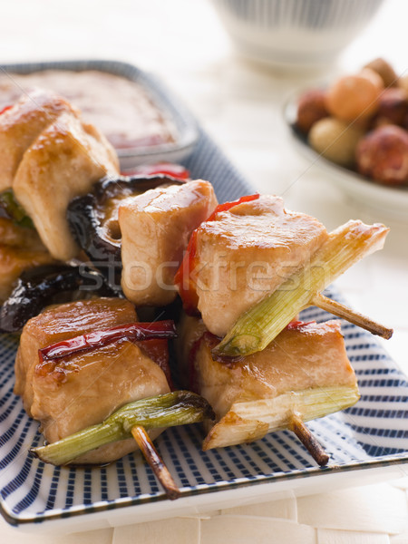 Yakitori Skewers with Sukiyaki Sauce and Rice Crackers Stock photo © monkey_business