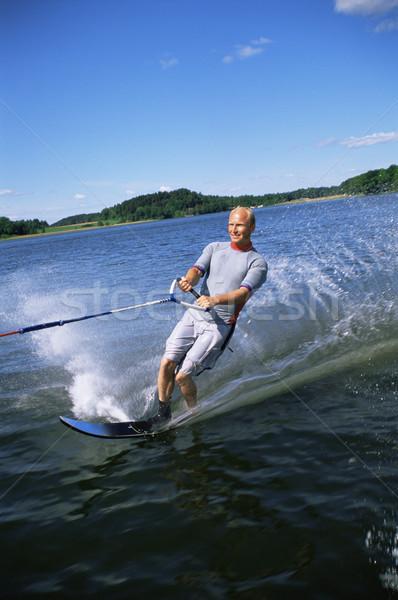 Foto stock: Moço · água · esqui · homem · mar · sorridente
