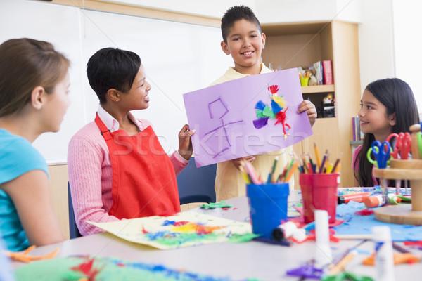 Stock fotó: általános · iskola · művészet · osztály · tanár · nő · gyerekek