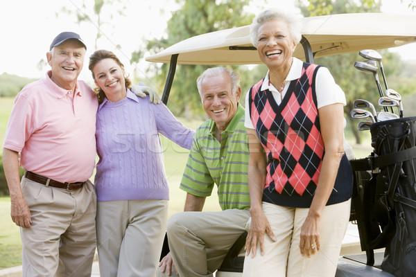 Portré négy barátok élvezi játék golf Stock fotó © monkey_business