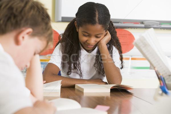 Schoolchildren reading books in class Stock photo © monkey_business