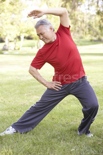 Stockfoto: Senior · man · park · oefening · asian