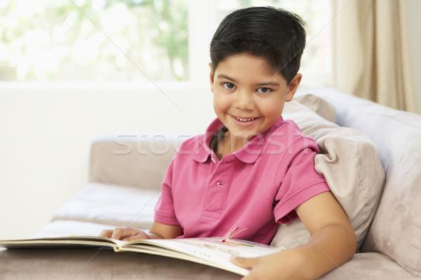 Photo stock: Lecture · livre · maison · enfants · portrait