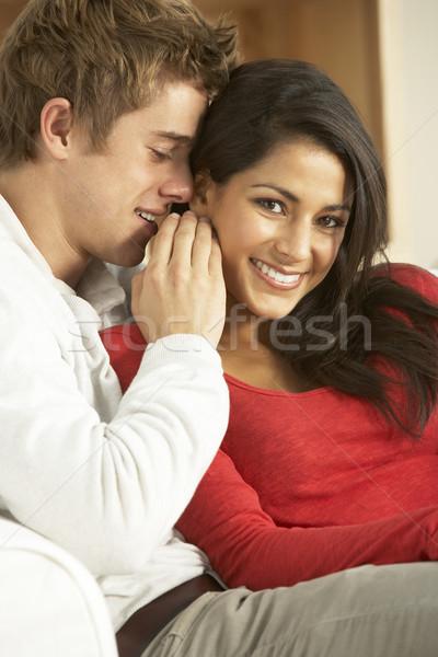 Foto stock: Sessão · sofá · casal · menino · jovem