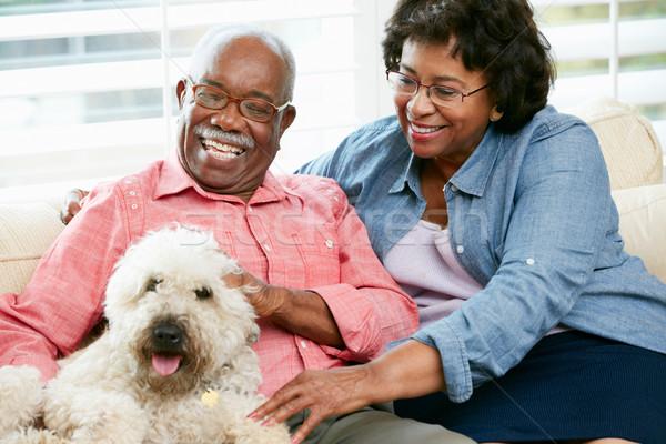 Happy Senior Couple Sitting On Sofa With Dog Stock photo © monkey_business