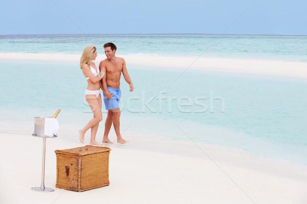 Stock fotó: Pár · tengerpart · luxus · pezsgő · piknik · nő