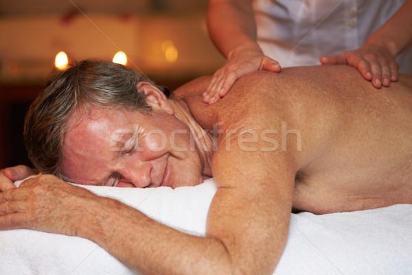 Starszy człowiek masażu spa kobieta kobiet Zdjęcia stock © monkey_business
