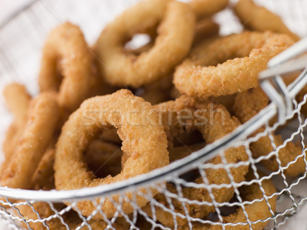 Breaded Onion Rings in a Basket Stock photo © monkey_business