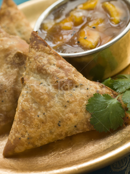 Vegetable Samosa with Mango Chutney Stock photo © monkey_business